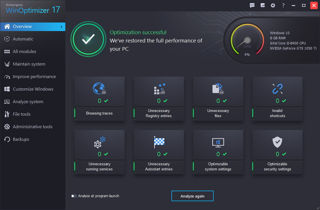 Ashampoo WinOptimizer 17.00.24 crack+serial key free download